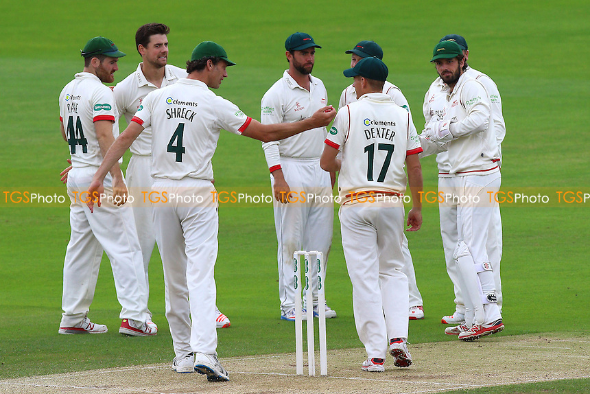 Rob Taylor (2nd L) of Leicestershire is congratulated by his team mates after taking the wicket of Tom Westley during Essex CCC vs Leicestershire CCC, Specsavers County Championship Division 2 Cricket at the Essex County Ground on 22nd June 2016