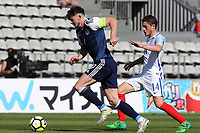 Oliver Burke of Scotland tries to outpace England's Elliott Embleton during England Under-18 vs Scotland Under-20, Toulon Tournament Semi-Final Football at Stade Parsemain on 8th June 2017