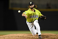 Pitcher Adam Atkins (36) of the Columbia Fireflies delivers a pitch in a game against the Augusta GreenJackets on Saturday, July 29, 2017, at Spirit Communications Park in Columbia, South Carolina. Columbia won, 3-0. (Tom Priddy/Four Seam Images)