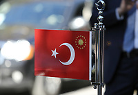 Pictured: A Turkey flag on the official car which transported President Recep Tayyip Erdogan <br /> Re: Turkey's president Recep Tayyip Erdogan has begun a landmark visit to Greece. Thursday 07 December 2017