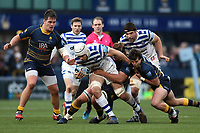 Dave Attwood of Bath Rugby takes on the Worcester Warriors defence. Gallagher Premiership match, between Worcester Warriors and Bath Rugby on January 5, 2019 at Sixways Stadium in Worcester, England. Photo by: Patrick Khachfe / Onside Images