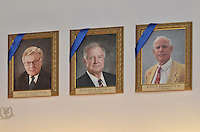 Blue Leaders Ashton, Balme & Embersits Portraits, Yale University Athletics. George H.W. Bush Lifetime of Leadership Award Honoree Paintings in the Kiphuth Trophy Room, Payne Whitney Gymnasium.