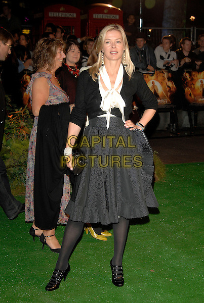 "LADY HELEN TAYLOR.""Stardust"" European film premiere.Odeon, Leicester Square.3rd October 2007 London, England.full length windsor black jacket cardigan grey gray skirt patter white knotted blouse clutch purse strappy shoes patent hand on hip.CAP/PL.©Phil Loftus/Capital Pictures"