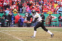 Jacksonville Jaguars punter Chris Hanson punts the ball during the second half at Arrowhead Stadium in Kansas City, Missouri on December 31, 2006. The Chiefs won 35-30.