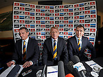 Gordon Strachan is appointed as the new Scotland manager as he takes his seat next to Campbell Ogilvie and Stewart Regan