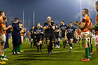 Matt Garvey of Bath Rugby leads his team off the field. European Rugby Champions Cup match, between Benetton Rugby and Bath Rugby on January 20, 2018 at the Municipal Stadium of Monigo in Treviso, Italy. Photo by: Patrick Khachfe / Onside Images