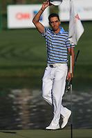 Rafael Cabrera-Bello (ESP) walks onto the 18th green during Sunday's Final Round of the 2012 Omega Dubai Desert Classic at Emirates Golf Club Majlis Course, Dubai, United Arab Emirates, 12th February 2012(Photo Eoin Clarke/www.golffile.ie)