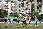 Samurai International RFC (in black shorts) vs King's College at UQ (in blue shorts) during GFI HKFC Rugby Tens 2016 on 07 April 2016 at Hong Kong Football Club in Hong Kong, China. Photo by Marcio Machado / Power Sport Images