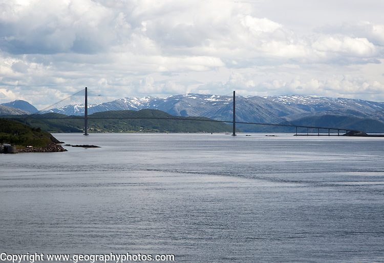 Large concrete cantilever road bridge crossing fiord at Helgeland Bridge, Sandnessjoen, Nordland, Norway