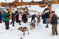 Aliy Zirkle crosses under the burl arch finish line in Nome to a 4th place finish of the 2019 Iditarod on Wednesday March 13<br /> <br /> Photo by Jeff Schultz/  (C) 2019  ALL RIGHTS RESERVED