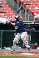 Gwinnett Braves shortstop Sean Kazmar (9) at bat during a game against the Buffalo Bisons on May 13, 2014 at Coca-Cola Field in Buffalo, New  York.  Gwinnett defeated Buffalo 3-2.  (Mike Janes/Four Seam Images)