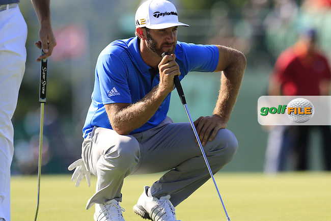 Dustin Johnson (USA) on the 17th green during Friday's Round 2 of the 2016 U.S. Open Championship held at Oakmont Country Club, Oakmont, Pittsburgh, Pennsylvania, United States of America. 17th June 2016.<br /> Picture: Eoin Clarke | Golffile<br /> <br /> <br /> All photos usage must carry mandatory copyright credit (&copy; Golffile | Eoin Clarke)