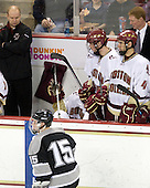 John Hegarty (BC - Dir-Hockey Operations), Kyle MacKinnon (Providence - 15), Carl Sneep (BC - 7), Brian Dumoulin (BC - 2), Tommy Cross (BC - 4), Greg Brown (BC - Assistant Coach) - The Boston College Eagles defeated the Providence College Friars 4-1 on Tuesday, January 12, 2010, at Conte Forum in Chestnut Hill, Massachusetts.
