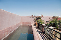 The long narrow swimming pool and walls of the roof terrace are finished in the traditional Moroccan tadelakt