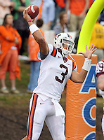 CHARLOTTESVILLE, VA- NOVEMBER 12: Quarterback Logan Thomas #3 of the Virginia Tech Hokies warms up before the game against the Virginia Cavaliers on November 28, 2011 at Scott Stadium in Charlottesville, Virginia. Virginia Tech defeated Virginia 38-0. (Photo by Andrew Shurtleff/Getty Images) *** Local Caption *** Logan Thomas