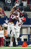 Hawgs Illustrated/Ben Goff<br /> A pass falls incomplete to Kendrick Rogers (13), Texas A&M wide receiver, under pressure from Jarques McClellion, Arkansas cornerback, in the first quarter Saturday, Sept. 29, 2018, during the Southwest Classic at AT&T Stadium in Arlington, Texas.
