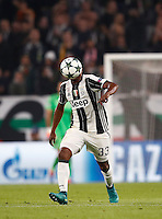 Calcio, Champions League: Gruppo H, Juventus vs Lione. Torino, Juventus Stadium, 2 novembre 2016. <br /> Juventus&rsquo; Patrice Evra has his face hidden by the ball during the Champions League Group H football match between Juventus and Lyon at Turin's Juventus Stadium, 2 November 2016. The game ended 1-1.<br /> UPDATE IMAGES PRESS/Isabella Bonotto