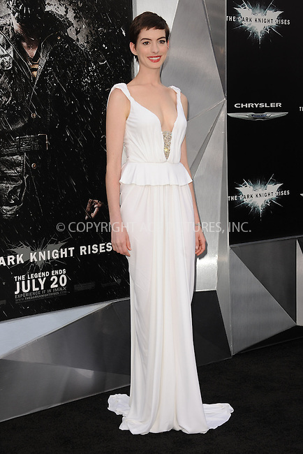 WWW.ACEPIXS.COM . . . . . .July 16, 2012...New York City...Anne Hathaway attends 'The Dark Knight Rises' New York Premiere at AMC Lincoln Square Theater on July 16, 2012 in New York City ....Please byline: KRISTIN CALLAHAN - ACEPIXS.COM.. . . . . . ..Ace Pictures, Inc: ..tel: (212) 243 8787 or (646) 769 0430..e-mail: info@acepixs.com..web: http://www.acepixs.com .