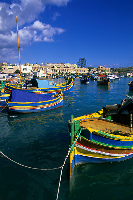 MALTA, FISHING VILLAGE OF MARSAXLOKK, PORT WITH COLORFUL FISHING BOATS