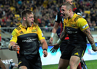 Wes Goosen celebrates his try with TJ Perenara (right) during the Super Rugby match between the Hurricanes and Crusaders at Westpac Stadium in Wellington, New Zealand on Saturday, 15 July 2017. Photo: Dave Lintott / lintottphoto.co.nz