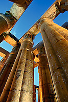 Skyward view of massive columns at sunset, Luxor Temple located at modern day Luxor or ancient Thebes
