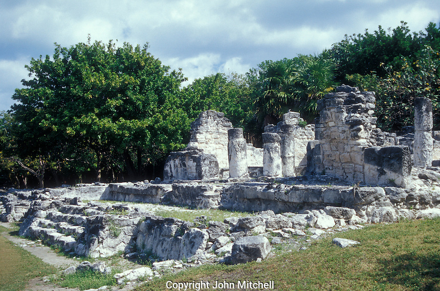 A ruined Mayan temple at the El Rey archaeological site, Cancun, Mexico