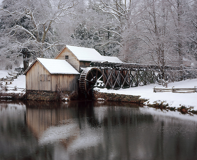 "Mabry Mill in winter snow, milepost 176, Blue Ridge Parkway, Virginia. Scanned from 4x5"" transparency. Fuji Astia 100F"