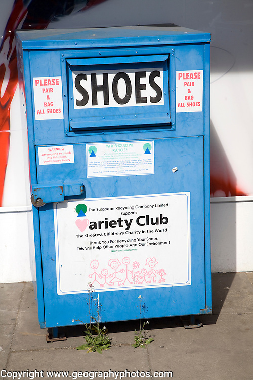 Shoe recycling collection container