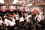 COLUMBUS, OH - MARCH 30: Mississippi State players celebrate their win over Louisville in a semifinal game of the 2018 NCAA Division I Women's Basketball Final Four at Nationwide Arena in Columbus, Ohio. (Photo by Ben Solomon/NCAA Photos via Getty Images)