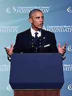 Washington, DC - September 17, 2016: President Barack Obama addresses attendees of the Phoenix Awards Dinner hosted by the Congressional Black Caucus Foundation at the Washington Convention Center, in the District of Columbia, September 17, 2016.  (Photo by Don Baxter/Media Images International)