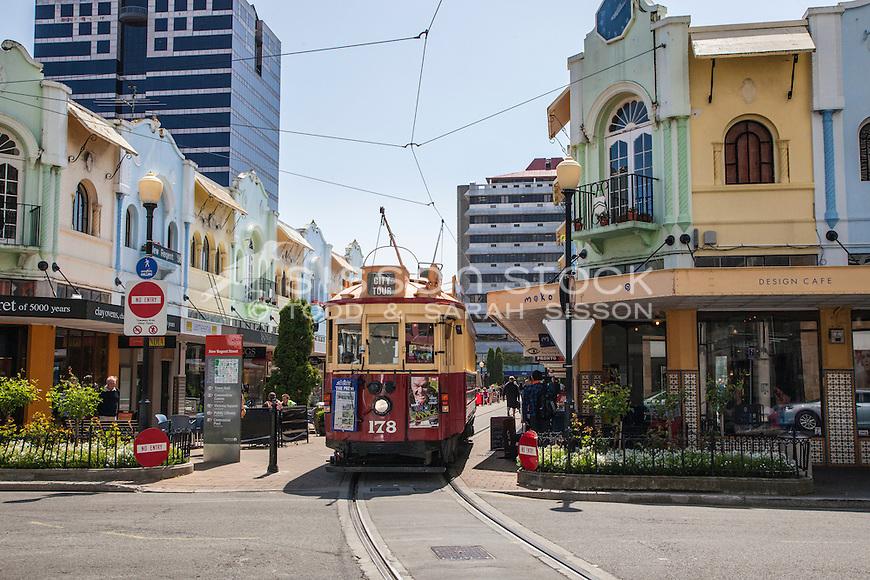 Historic Christchurch tram along New Regent Street, Canterbury, New Zealand (pre 2011 earthquake) - stock photo, canvas, fine art print
