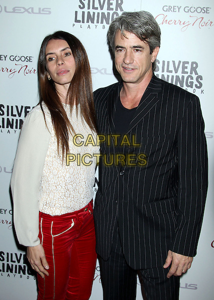 "Tharita Catulle & Dermot Mulroney.""Silver Linings Playbook"" - Los Angeles Special Screening held at the Academy of Motion Picture Arts and Sciences Samuel Goldwyn Theater, Beverly Hills, California, USA..November 19th, 2012.half length suit black pinstripe suit white lace top red jeans denim married husband wife .CAP/ADM/RE.©Russ Elliot/AdMedia/Capital Pictures."