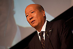 October 1, 2012, Tokyo, Japan - Tadashi Ishii, President of Dentsu inc. speaks during a press conference at its head office in Tokyo, Japan. They announced Panasonic's unique, safe and secure energy solutions and innovative ways of energy use to be employed in the town that is anticipated toserve as an advanced model of new lifestyles.(Photo by Yumeto Yamazaki/AFLO)
