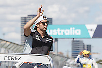 March 20, 2016: Sergio Perez (MEX) #11 from the Sahara Force India F1 team at the drivers' parade prior to the 2016 Australian Formula One Grand Prix at Albert Park, Melbourne, Australia. Photo Sydney Low
