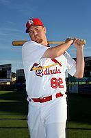 Mar 01, 2010; Jupiter, FL, USA; St. Louis Cardinals cacher Steven Hill (82) during  photoday at Roger Dean Stadium. Mandatory Credit: Tomasso De Rosa/ Four Seam Images