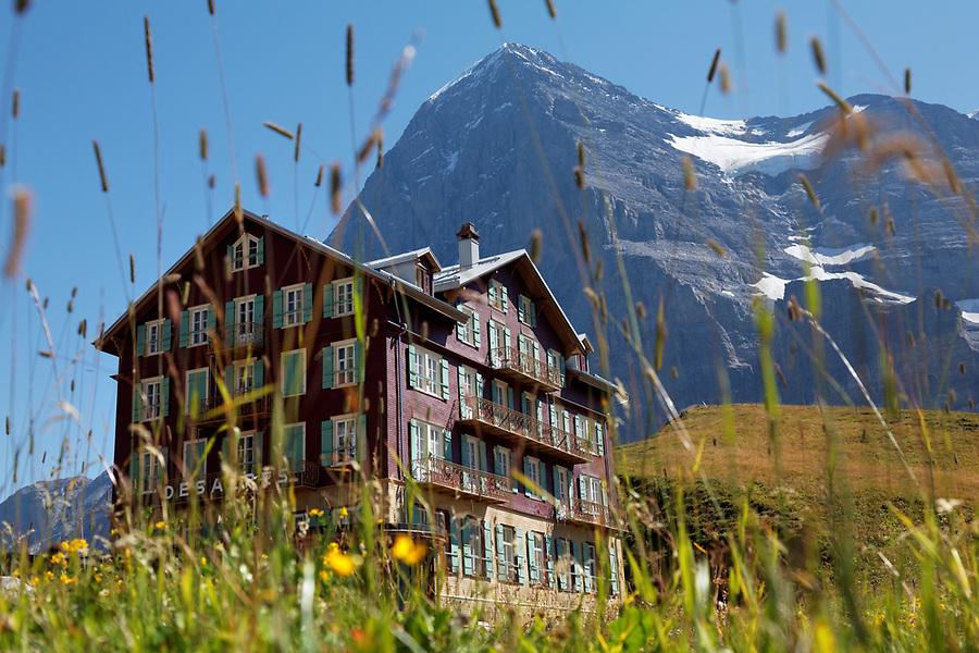 Hotel Des Alps in meadow below the north face of the Eiger at Kleine Scheidegg, Bernese Oberland, Switzerland
