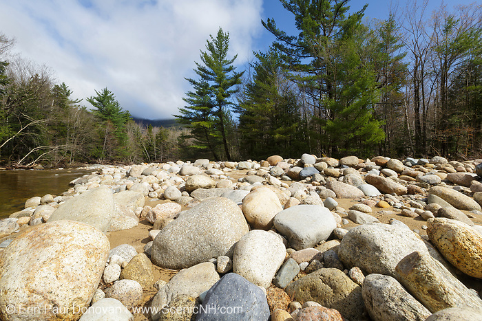 Hancock Brook in Lincoln, New Hampshire USA during the spring months. This area suffered major erosion damage from Tropical Storm Irene in 2011.