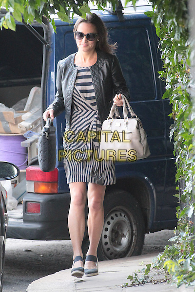 Pippa Middleton leaving her work, London, England..July 6th, 2011.full length black grey gray striped stripes dress jacket sunglasses shades leather bags ankle strap shoes biege.CAP/HIL.©John Hillcoat/Capital Pictures.