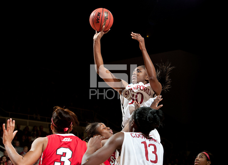 STANFORD, CA - March 21, 2011: Stanford Cardinal's Nnemkadi Ogwumike during Stanford's 75-51 win over St. John's during the second round of the NCAA tournament at Maples Pavilion in Stanford, California.