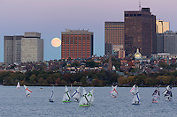 sailboat race with full moonrise, Beacon Hill skyline from MIT, Boston, MA Charles Rivber