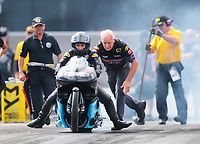 Oct 12, 2019; Concord, NC, USA; NHRA pro stock motorcycle rider Jianna Salinas during qualifying for the Carolina Nationals at zMax Dragway. Mandatory Credit: Mark J. Rebilas-USA TODAY Sports