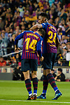 Philippe Coutinho of FC Barcelona (L) celebrating his score with Yerry Fernando Mina of FC Barcelona (R) during the La Liga match between Barcelona and Real Sociedad at Camp Nou on May 20, 2018 in Barcelona, Spain. Photo by Vicens Gimenez / Power Sport Images