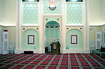 The main prayer room of the Mosque and Islamic centre of Brent..The Mosque and Islamic Centre of Brent, London, was built in the 1980s in a former church.