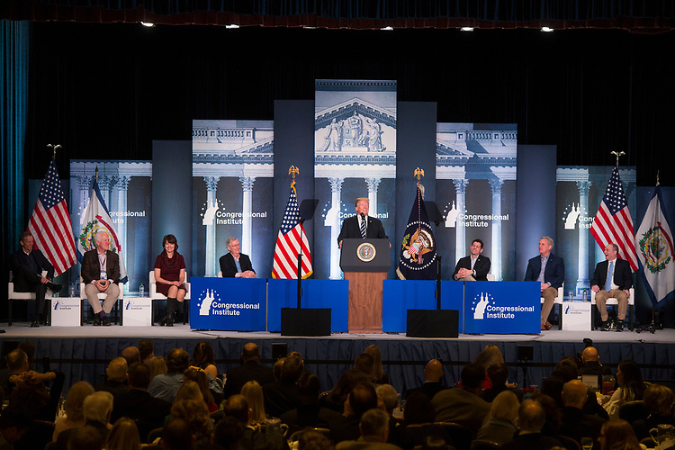 UNITED STATES - FEBRUARY 01: President Donald Trump speaks during a luncheon at the House and Senate Republican retreat at The Greenbrier resort in White Sulphur Springs, W.Va., on February 1, 2018.  Appearing seated are, from left, Sens. John Thune, R-S.D., John Cornyn, R-Texas, Rep. Cathy McMorris Rodgers, R-Wash., Senate Majority Leader Mitch McConnell, R-Ky., Speaker Paul Ryan, R-Wis., House Majority Leader Kevin McCarthy, R-Calif., and House Majority Whip Steve Scalise, R-La.,(Photo By Tom Williams/CQ Roll Call)