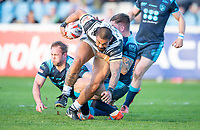 Picture by Allan McKenzie/SWpix.com - 10/05/2018 - Rugby League - Ladbrokes Challenge Cup - Featherstone Rovers v Hull FC - LD Nutrition Stadium, Featherstone, England - Hull FC's Sika Manu escapes the grasp of Featherstone's defence.