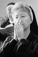 Sister Susanne Matwiyiw, a teacher, prays in the morning at Sisters of Saint Basil The Great motherhouse Tuesday May 1, 1990 in Jenkintown, Pennsylvania. (Photo by William Thomas Cain/Cain Images)