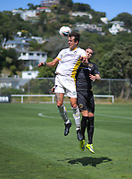Martin Bueno goes up for a header during the ISPS Handa Premiership football match between Team Wellington and Eastern Suburbs at David Farrington Park in Wellington, New Zealand on Sunday, 1 March 2020. Photo: Dave Lintott / lintottphoto.co.nz