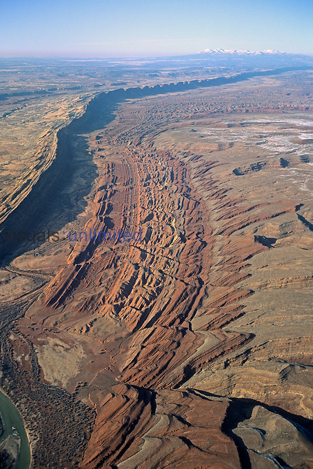 Aerial view of Comb Ridge, Utah, USA.
