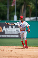 Clearwater Threshers second baseman Daniel Brito (21) throws to first base during a Florida State League game against the Dunedin Blue Jays on April 7, 2019 at Jack Russell Memorial Stadium in Clearwater, Florida.  Dunedin defeated Clearwater 2-1.  (Mike Janes/Four Seam Images)