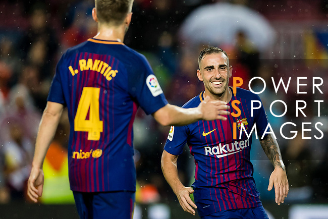 Francisco Alcacer Garcia, Paco Alcacer, of FC Barcelona (R) celebrates after scoring his goal with Ivan Rakitic of FC Barcelona (L)  during the La Liga 2017-18 match between FC Barcelona and Sevilla FC at Camp Nou on November 04 2017 in Barcelona, Spain. Photo by Vicens Gimenez / Power Sport Images